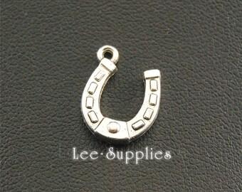 30pcs Antique Silver Alloy Lucky Horseshoe Charms Pendant A1369