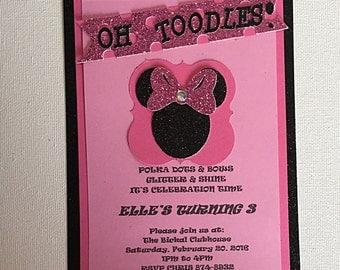 Minnie Mouse Birthday Invatation, Girls Birthday Invite