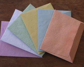 Assorted Colors handmade recycled paper envelope set of 6/ Multicolored cards/ Multicolored Envelope and Blank Cards/ Colorful card set