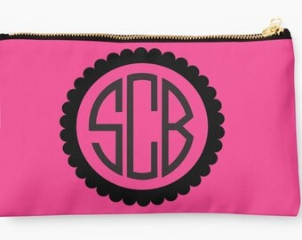 """9.5"""" x 6""""  Scalloped Monogrammed Pouch"""