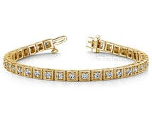 Tennis Bracelet Certified Unique Vintage Style, you are my sunshine jewelry|, submissive bracelet, Gold Bracelet 14k, Art Deco Design Look