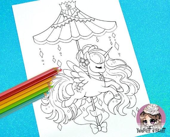 Celestial Carousel - Aurora Alicorn  - Clip Art - Digital Stamp