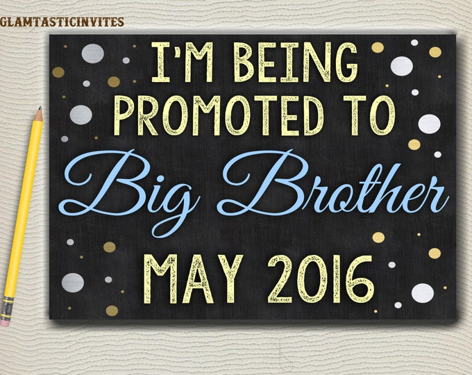 Big BROTHER Chalkboard Sign, I'm going to be a BIG BROTHER, Chalkboard Sign, Pregnancy Reveal, Pregnancy Announcement, Digital, Big Brother