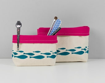 2 Hand printed bathroom fabric storage basket.