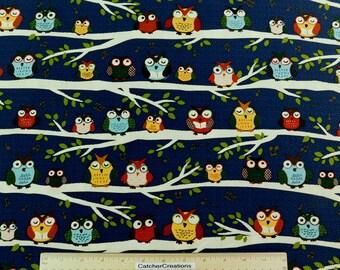 Sale! Robert Kaufman, Night Owl Club Midnight,  by Feng Liang, Kona Cotton Fabric, By the Yard,  AFL-12337-69