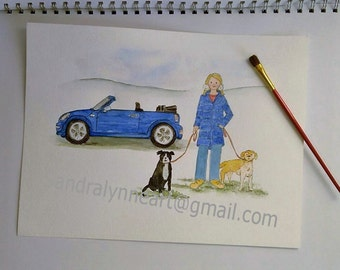 Customised artwork, Personalised quirky portrait, hand-drawn, hand-made,