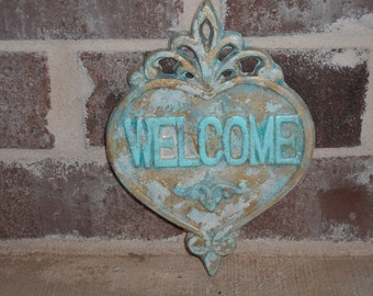 Cast Iron Heart/Cast Iron Wall Decor/Heart WELCOME sign/Home Decor Cast Iron/Shabby Chic Art Decor