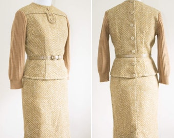 Vintage 1960s Two Piece Suit / 60s Suit / Country Set by Margit / Wool / XS