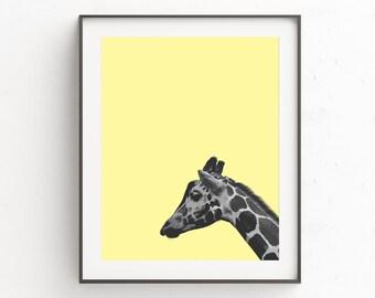 Safari Animals Print Art, Nursery Animal Art Print, Yellow and Gray Print Art, Nursery Animal Print Art, Giraffe, Yellow Printable Art