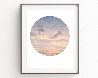 Photography Circle, Sky Photo, Cloud Poster, Nature Poster, Abstract Photo, Circle Poster, Winter Wall Print, Download Art, Pink Wall Art
