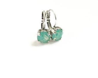 8mm Swarovski Crystal Drop Earrings in Pacific Opal