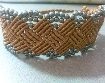 retro cuff bracelet with coffee cord and beads
