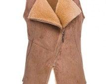 NEW SHEEPSKIN VEST Woman's leather jacket Warm cream cosy winter vest with sheep wool fur, Gift for women Ski, russian scandinavian style