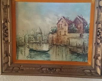 Framed Art; Large Art Deco Oil on Canvas Venice Painting