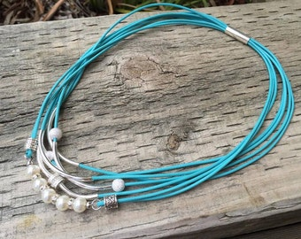 Turquoise Gypsy Pearl Necklace