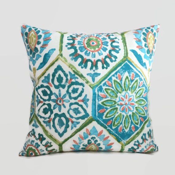 Coastal Pillows Blue Green Orange Indoor Outdoor Throw Pillow