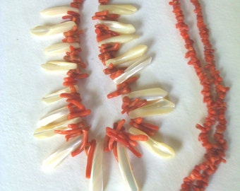 Vintage Coral and Mother of Pearl necklace