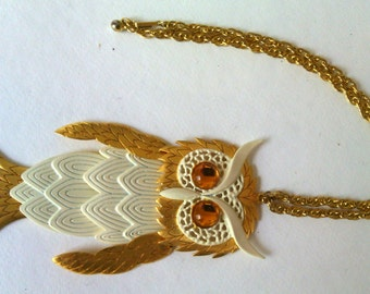 Vintage Owl metal necklace