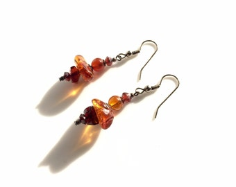 Vintage Baltic Amber Earrings, Natural Amber Earrings, Amber Dangle & Drop earrings, handmade earrings