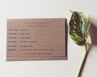 Index Card Save the Date - Rustic Save the Date - Typewriter Save the Date - Brown Kraft - Love timeline - Rustic Wedding