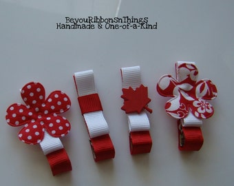 Patriotic | Hair Clips for Girls | Toddler Barrette | Kids Hair Accessories | Grosgrain Ribbon | No Slip Grip