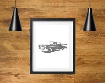 SALE 20% off | Vintage Car Silhouette Wall Decor | Printable Retro Car Art | Wall Decoration