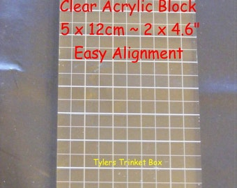 """Clear Acrylic Block ~ 5cm x 12cm (2"""" x 4.6"""") ~ Printed Gridlines ~ Easy Alignement ~ Dovecraft ~ Clear Stamps ~ Art ~ Craft ~ Scrapbooking"""