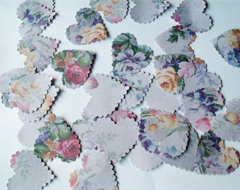 100 Vintage Stye  Floral Bouquet On Linen Selection - Paper Wedding / Party Table Confetti Decorations