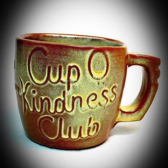 Pair Vintage Frankoma Pottery Artist Signed Cup O Kindness