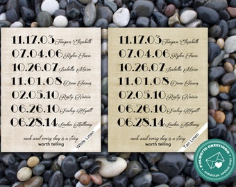 Linen Family Dates Print - Up to 7 Dates