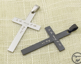 Stainless Cross Charms Personlized Actual Handwriting, Real Hand Signature , Drawing Replica, Text Laser Engrave, international Shipping