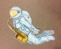 saxy astronaut - one vinyl sticker