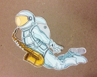 saxy astronaut - one vinyl sticker