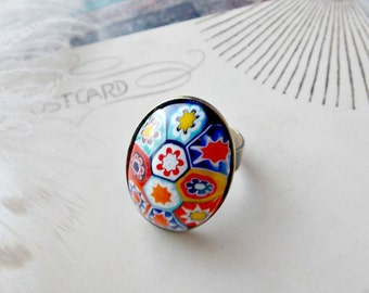 vintage millefiori ring, glass mosaic, boho, bohemian, adjustable, bright colors, italian, venetian, 1970s, fab flea market
