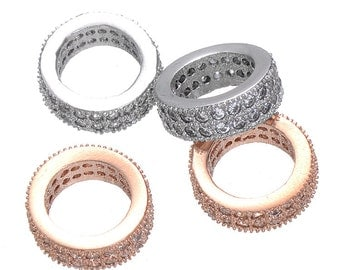 High Quality Bulk 5 Micro Pave CZ Cubic Zirconia Ring Beads Big Hole Beads Spacer European Bracelet Making (CN0070)
