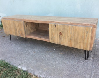 Triple section console table / ent center with doors in weatherd oak (variations available)