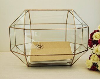 Wedding Card Box,Large Geometric Box, Envelope Holder, Rustic Wedding Decor, Glass Card Box, Wedding Glass Box, Wedding Card Holder, Copper