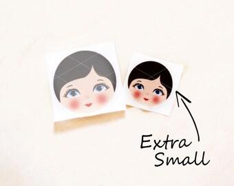 Babushka Matryoshka Cloth Face, Fabric Face, Doll making supplies, Extra Small