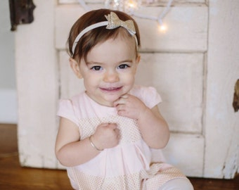 Gold glitter bow headband, single headband