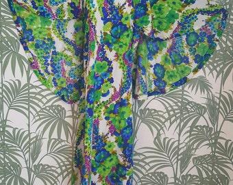 Stunning flora and fauna blue green 1970s caped maxi dress