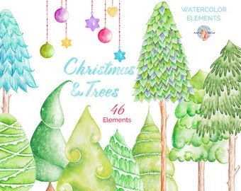 Christmas & Trees Watercolor Clipart, Hand Painted Elements, Invitation, Christmas Card, Greeting Card, DIY Elements