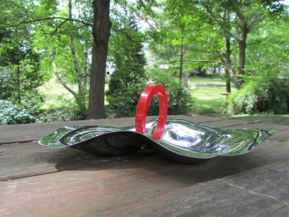 Chrome Divided Dish with Bakelite Red Ring Handle Mid Century Modern Serving Tray for Candy Nuts Snacks 50s Retro Decor Art Deco Gift