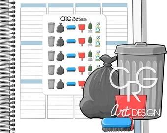 Cleaning Stickers  | Planner Erin Condren Plum Planner Filofax Sticker