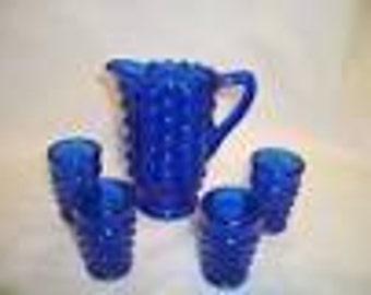 Vintage Child's 5 pc. Cobalt Blue Hobnail