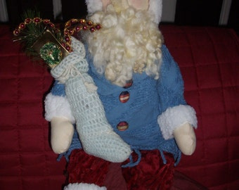 Primitive Santa with Hand Knitted Stocking