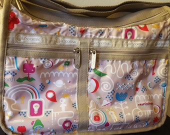 RARE LeSportsac limited edition Asian Import Deluxe Everyday Shoulder Bag + Lily Wallet - Teleport Tan Print