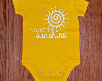 You Are My Sunshine Bodysuit, Funny Tees, Inspirational Baby Clothing, Baby Shower Gift Idea, Baby Clothing, Yellow Bodysuits for Kids