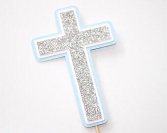 Christening Baptism Cross Cake Topper Blue White Silver Glitter