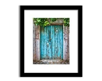 Blue door print, Door photo, Travel photography, Old door wall art, Travel decor, Rustic decor, Vintage door, Digital Print, Printable 8x10