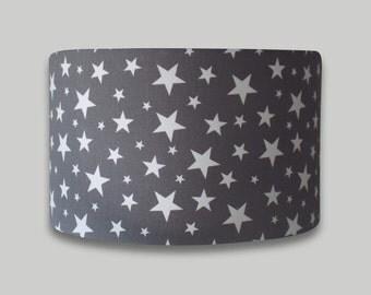 Apollo Grey White Stars Childrens Nursery Drum Lampshade Lightshade Lamp Shade 20cm 25cm 30cm 35cm 40cm 50cm 60cm 70cm